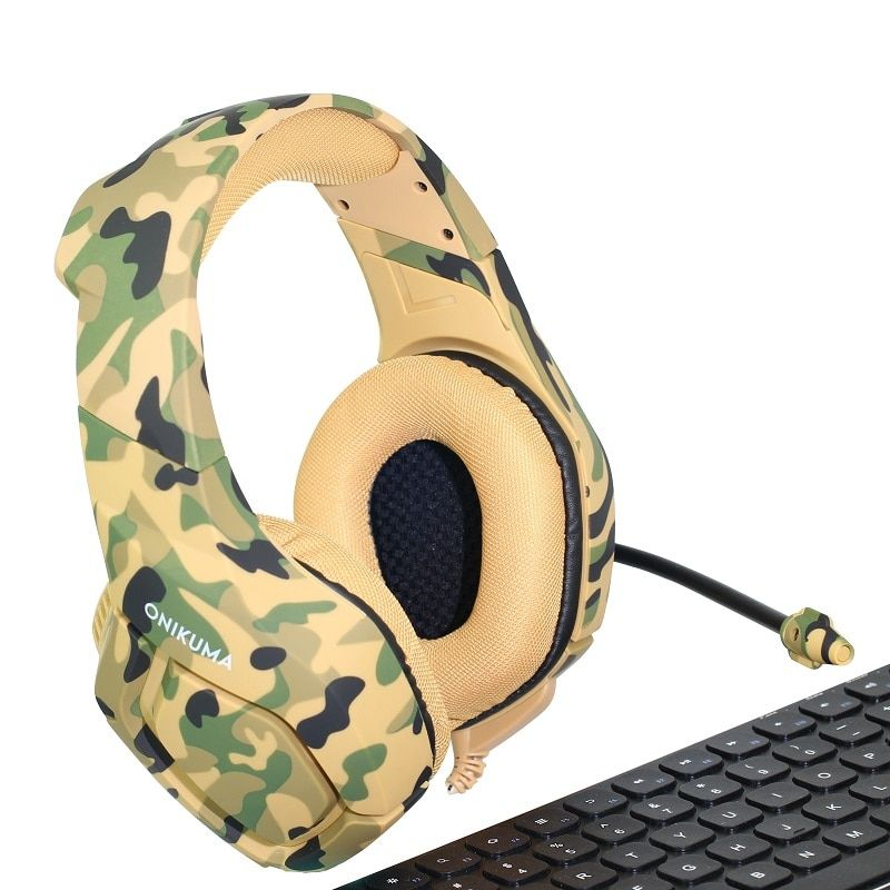 ONIKUMA K1 Deep Bass Gaming Headset Camouflage <font><b>Noise</b></font> cancelling Headphones Gaming Headphones for PC Cell Phone Xbox One Laptop