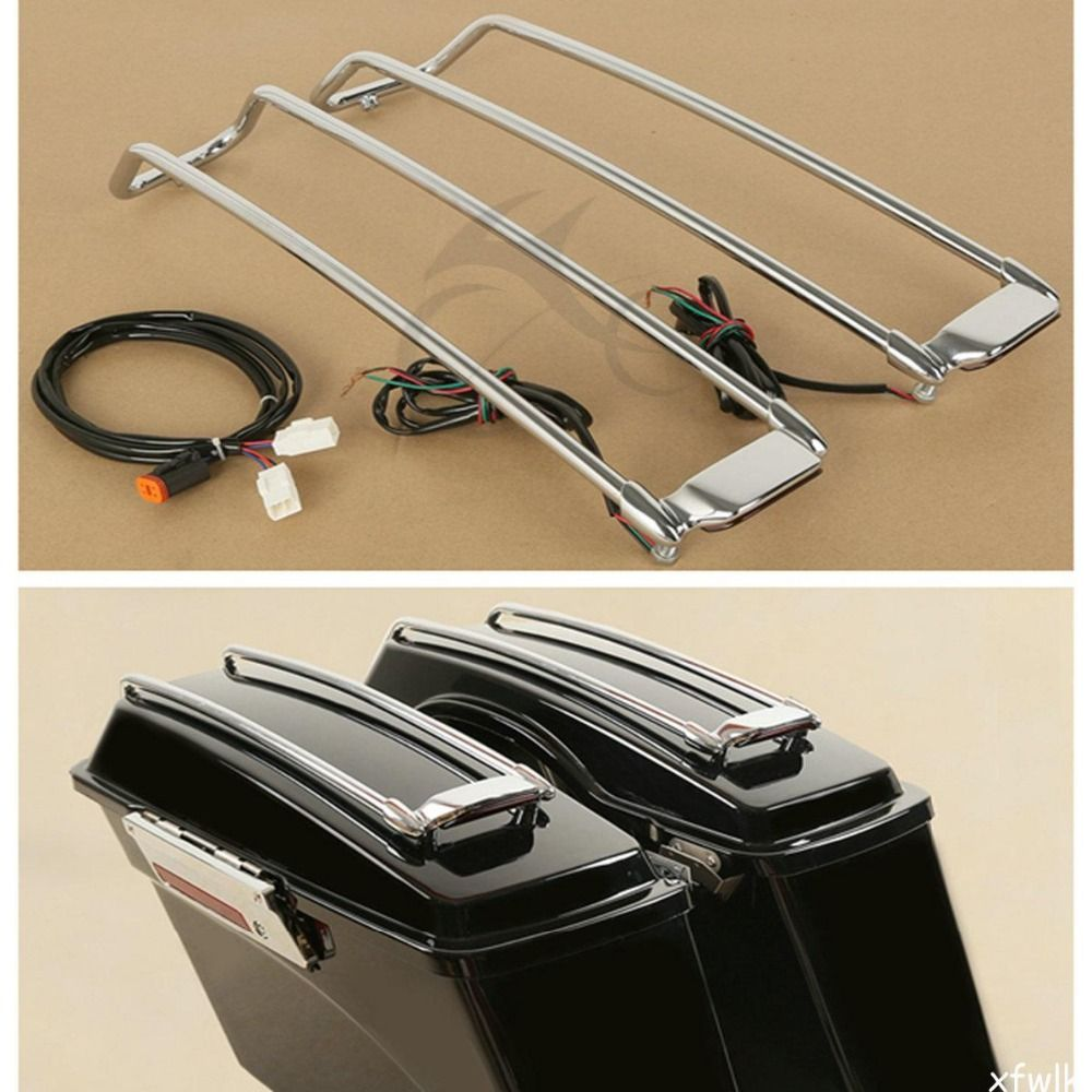 Chrome Saddlebags Lid Rack Top Rail Guard W/ Light For Harley Touring 1994-2013 Motorcycle