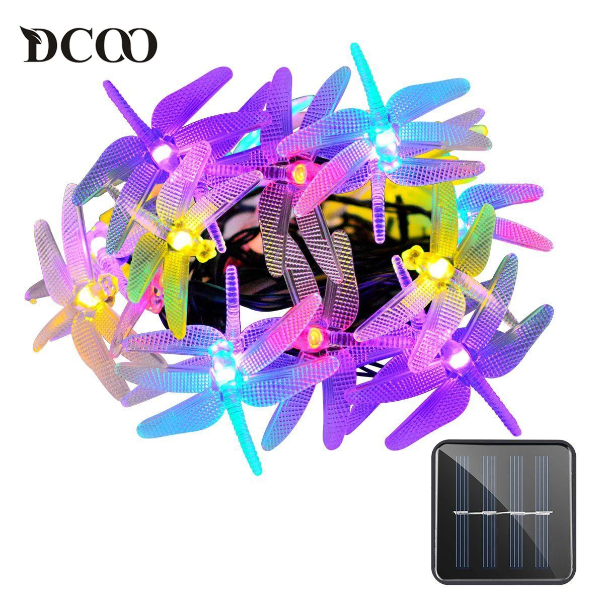 Dcoo Solar Battery String Lights Dargonfly 20 LEDs 8 Modes Fairy String Lights Dragonfly Garden Outdoor Lighting Pisca Pisca