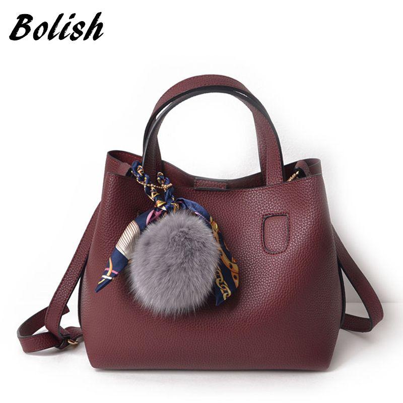 Bolish Litchi <font><b>Pattern</b></font> Soft PU Leather Women Handbag Two Pieces Female Shoulder Bag Girls Messenger bag Casual Women Bag