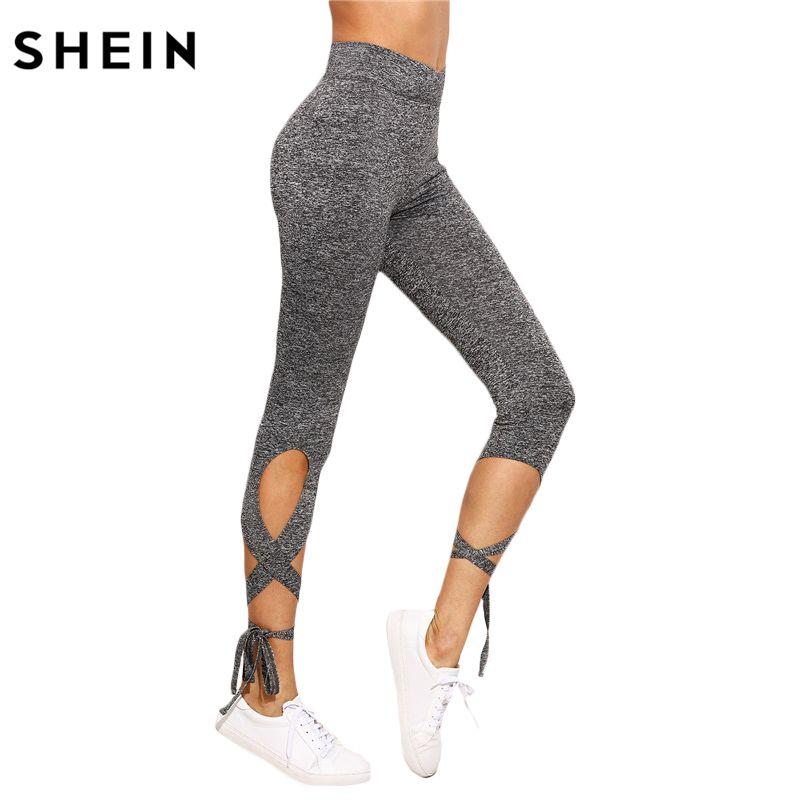 SHEIN Women Pants Trousers for Ladies Fitness Plain Light Grey High Waist Crisscross Tie Fitness Elastic Leggings
