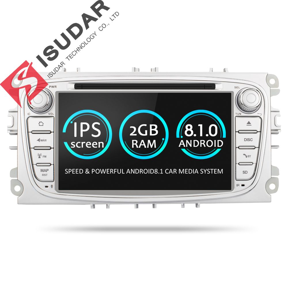 Isudar Voiture Multimédia Lecteur GPS Android 8.1 2 Din DVD Automotivo Pour FORD/Focus 2/S-MAX/Mondeo /C-MAX/Galaxy/Fiesta Wifi Radio