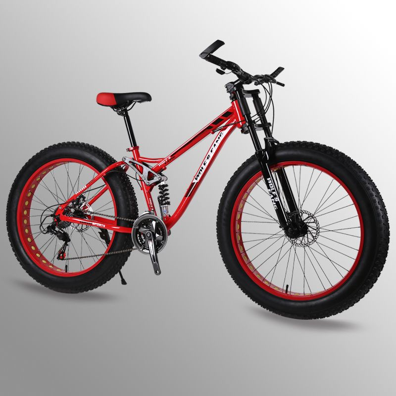 bicycle 26 inches 24 speed fat Mountain bike bicicleta Spring Fork bisiklet Front and Rear Mechanical Disc Brake Male Bike