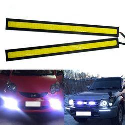 1 Pcs 17 cm De Voiture DRL COB Conduite Brouillard lampe Double Row76Leds feux de jour Auto Étanche mise à jour Ultra Lumineux LED DC 12 V