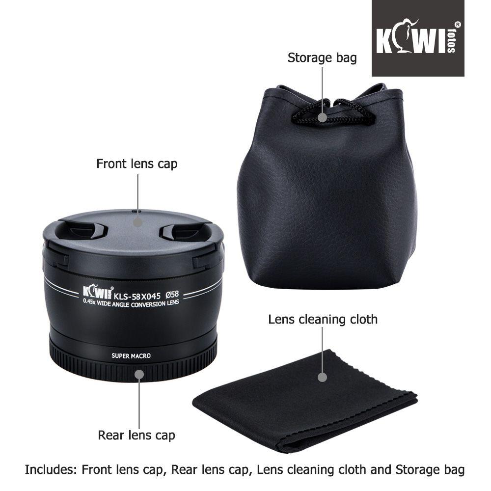 KIWI 0.45 x Wide Angle Macro Conversion Lens 37mm 52mm 58mm for Canon Nikon Sony DSLR Camera Universal Smart Phone
