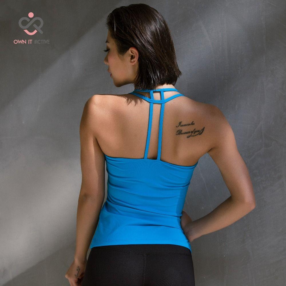 Débardeur Sexy sport yoga gilet course fitness gilet Pula vêtements à séchage rapide choc fixe bleu t-shirt avec soutien-gorge p095