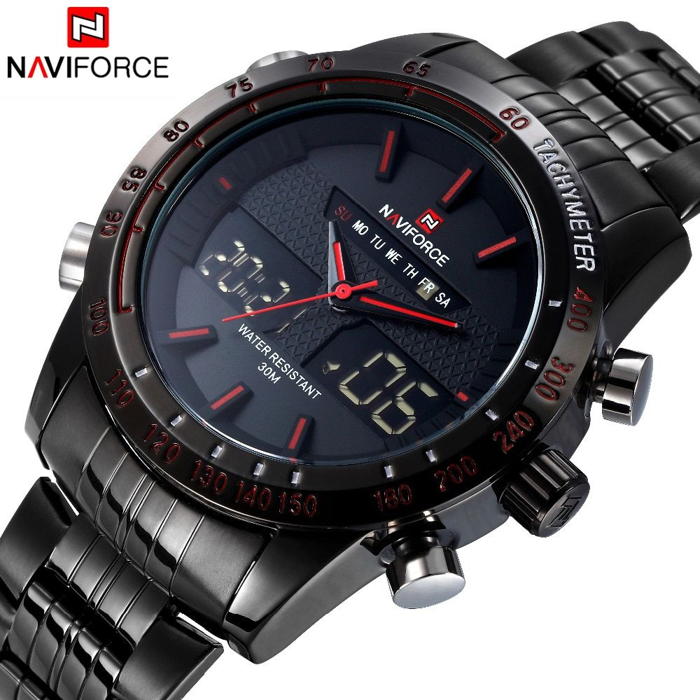 Luxury Brand NAVIFORCE Man Fashion Sport Watches Men Quartz Digital Analog Clock Men's Full Steel Wrist Watch relogio masculino