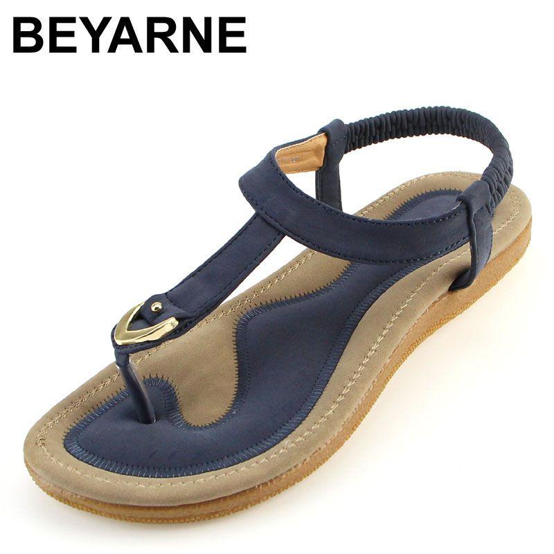 BEYARNE size 35-42 new women sandal flat heel sandalias femininas summer casual single shoes woman soft bottom slippers sandals