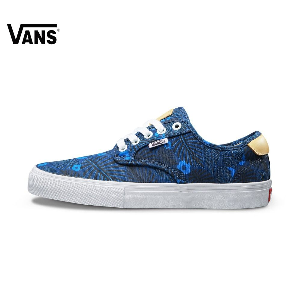 Vans Sneakers Low-top Trainers Men Sports Skateboarding Shoes Flat Breathable Classic Canvas Blue Leaves Outdoor Brand Designer