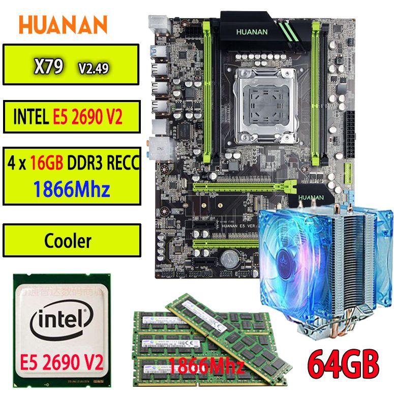 HUANAN V2.49 X79 motherboard LGA2011 ATX combos cooler E5 2690 V2 SR1A5 4 x 16G 64GB 1866Mhz USB3.0 SATA3 PCI-E NVME M.2 SSD