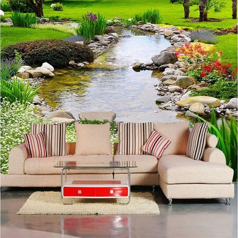 Custom photo wallpaper Large wall painting background wall paper the living room TV Nature park creek grass  3d mural wallpaper