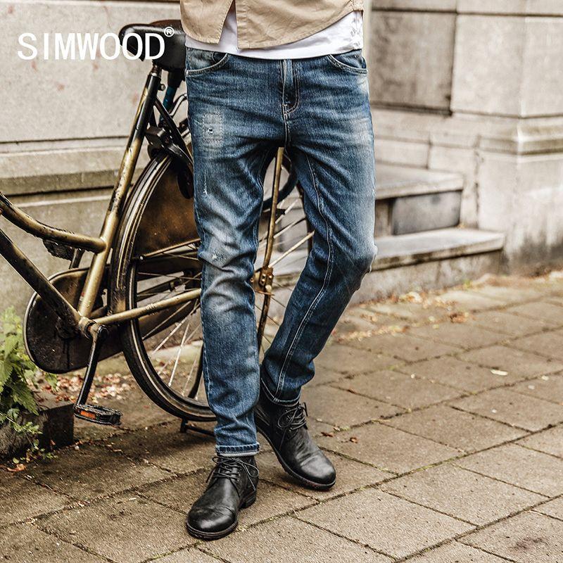 Simwood 2017 Для мужчин бренд Джинсы для женщин модные Повседневное Мужской Джинсовые штаны Мотобрюки Хлопок Классический Прямые джинсы nc017037