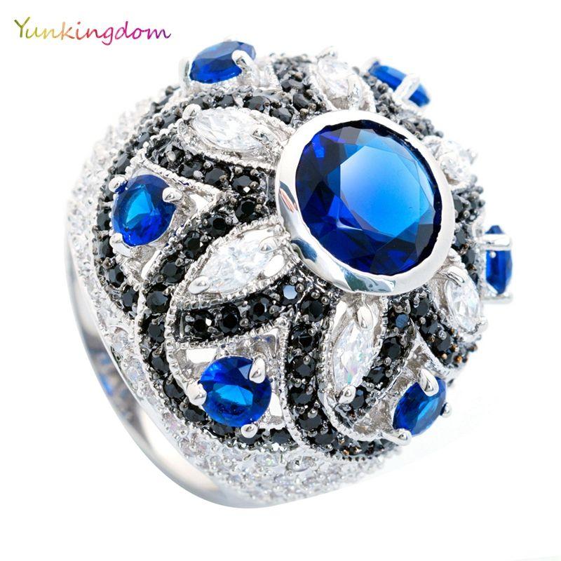 Yunkingdom magnifique bleu grands anneaux pour les femmes pleine incrustation zircon parti reine bijoux cadeau de saint-valentin