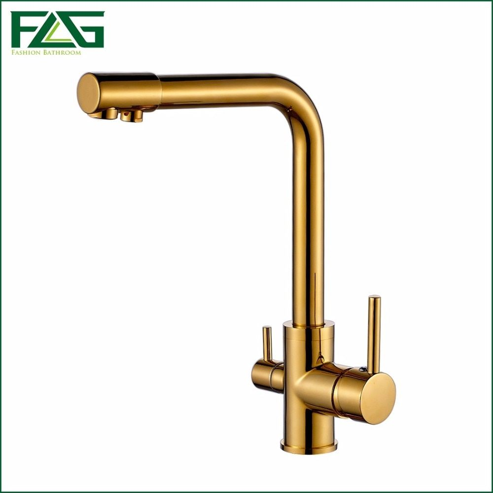FLG 100% Copper Gold Finished Swivel Drinking Water Faucet 3 Way Water Filter Purifier Kitchen Faucets For Sinks Taps 242-33B