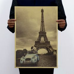 Paris Eiffel Tower and Car Vintage Kraft Paper Classic Poster Home  Art Magazines  Cafe Bar Decoration Retro Posters and Prints