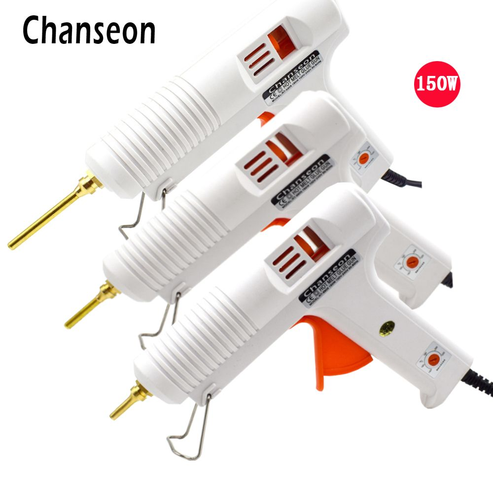 Chanseon 150W EU/US Hot Melt Glue Gun Smart Adjustable Temperature Copper Nozzle Heater Heating 1PC 11mm Heat Glue Gun Stick