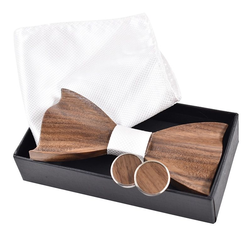 New 2017 3D wooden tie Cufflinks fashion wood bow tie wedding dinne3D Handmade corbata Wooden Ties Gravata set