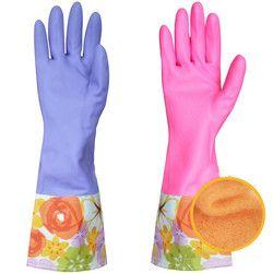 Karet lateks sarung tangan rumah tangga dapur mobil pembersih cuci piring panjang tetap hangat sarung tangan