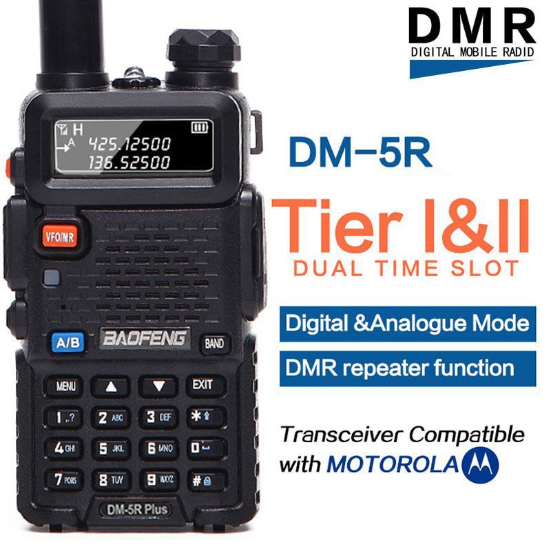 Baofeng DM-5R PLUS DMR Tier 1&2 Portable Radio Walkie Talkie Digital & Analogue Mode DMR Repeater Function Compatible with Moto