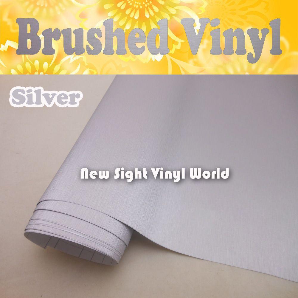 Hohe Qualität Silber Gebürstet Metallic Vinyl Film Gebürstet Silber Vinyl Wrap Luftblase Frei Größe: 1,52*30 M/Rolle