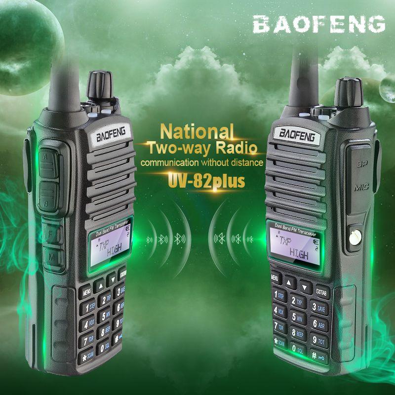 2PCS Brand New Baofeng 8W UV-82plus Walkie Talkie Portable Interphone Pofung UV 82 Ham Radio Dual PTT Handheld Amateur Radio