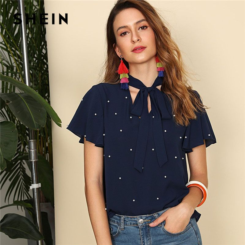 SHEIN Navy Pearl Embellished Tie Neck Butterfly Sleeve Top Women Stand Collar V Neck Short Sleeve Plain Top 2018 <font><b>Elegant</b></font> Blouse