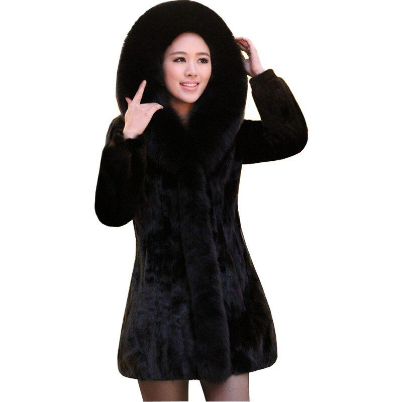 2017 Luxury Lady Genuine Nature Mink Fur Coat Jacket Fox Fur Hoody Winter Women Fur Outerwear Coats Trench Overcoat 3XL 4XL 2237