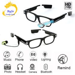 New Multifunction Bluetooth glasses Support to listen to music and call  720p video glasses Built-in 32G storage LED light