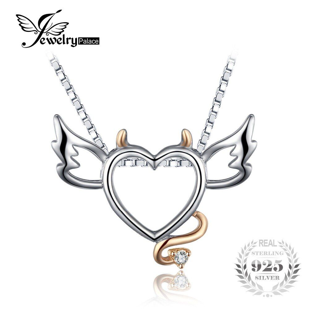 JewelryPalace Lovely Wing Angel Heart Pendant Fashion Gift 925 Sterling Silver Jewelry Present For Girl Include A Chain 45cm
