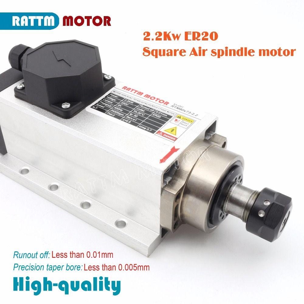 RUS/EU Lieferung! Platz 2.2kw Quanlity luftgekühlten spindel motor 220 v 24000 rpm ER20 Runout-off 0,01mm Keramik lager freies steuern