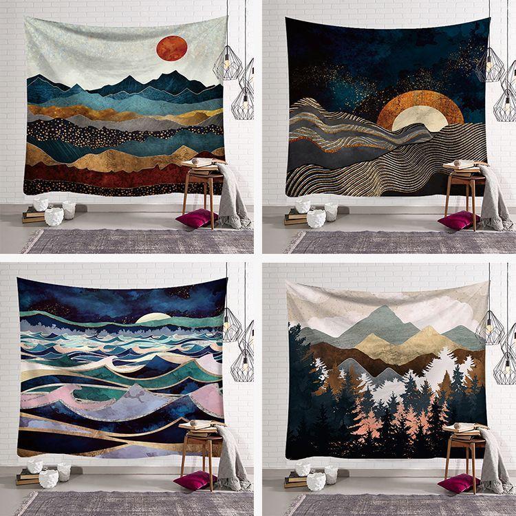 Tenture murale Mandala tapisserie 150*150cm voyage Camping lever du soleil peinture à l'huile modèle boho tapisserie Yoga tapis de couchage tapisserie