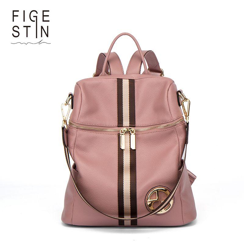 FIGESTIN Backpack Female Genuine Leather Women Backpacks School Bag Pink Stripe Multifunctional Leather Back pack on Shoulder