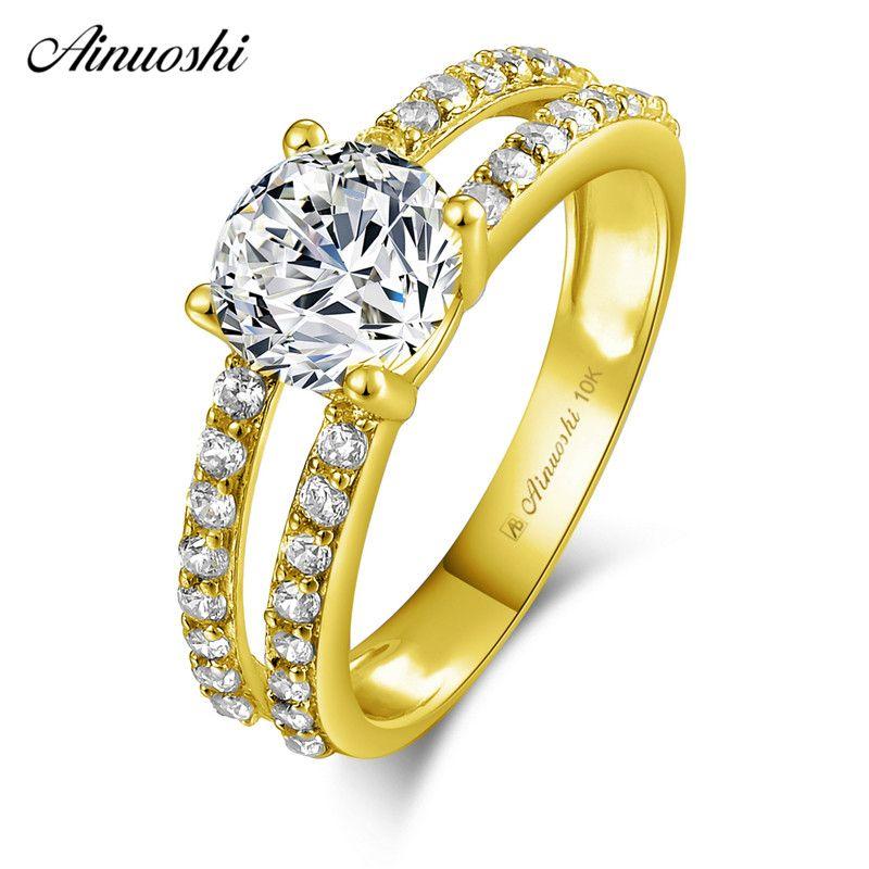 AINUOSHI 10 karat Solide Gelb Gold Ring 4 Zinken 1,25 ct Runde Cut SONA Diamant Hochzeit Engagement Braut Band 2 reihen Höhlte Ring