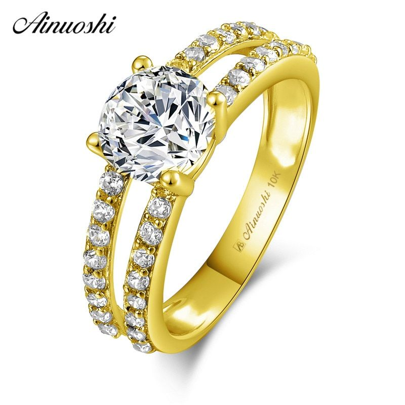 AINUOSHI 10k Solid Yellow Gold Ring 4 Prongs 1.25 ct Round Cut SONA Diamond Wedding Engagement Bridal Band 2 Rows Hollowed Ring