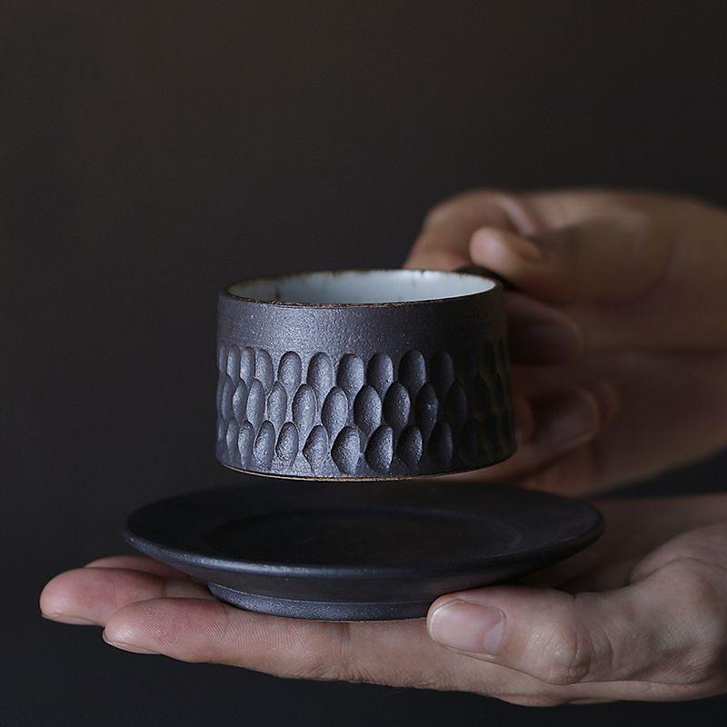 60cc Kreative Handgemachte Keramik Groben Keramik Espresso Kaffee Tasse mit Untertasse Kit Mini Drink Büro Milch Joghurt Becher Kunst Geschenk