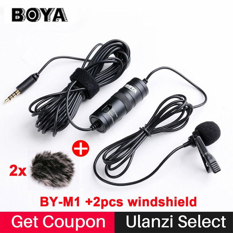 BOYA BY-M1 Lavalier Omnidirectional Condenser Microphone for Canon Nikon Sony,for iPhone 7 6s Plus DSLR Camcorder Audio Recorder