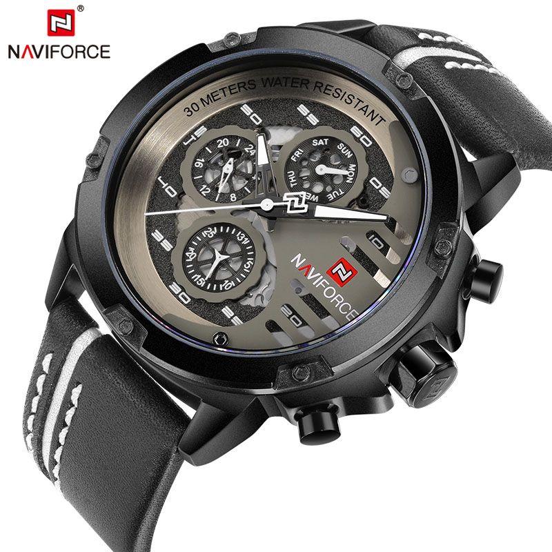 <font><b>NAVIFORCE</b></font> Mens Watches Top Brand Luxury Waterproof 24 hour Date Quartz Watch Man Leather Sport Wrist Watch Men Waterproof Clock