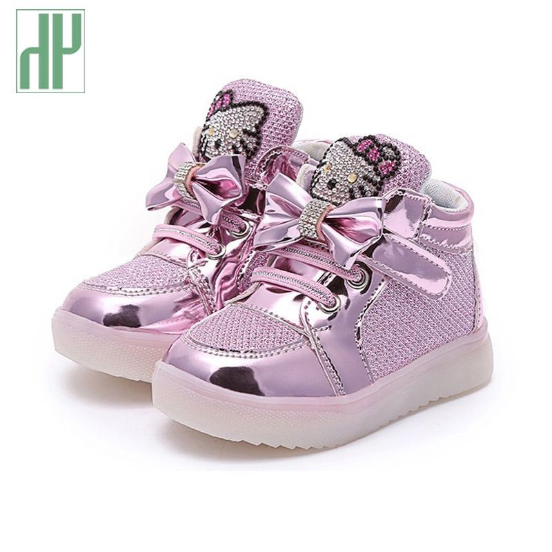 светящиеся кроссовки детская обувь Мода Крюк Петля светодиодные обувь дети свет кроссовки светящиеся детские маленькие Девочки принцесса ...