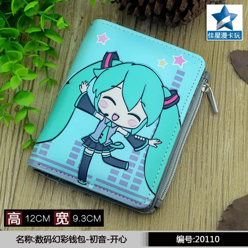 Studenten Kurze Geldbörse Anime/ACG Hatsune Miku Geprägte Null Ändern Brieftasche mit Magnet Taste
