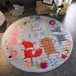 SDARISB sala de estar 150cm redonda bolsa de almacenamiento de juguetes para niños cesta de almacenamiento portátil de dibujos animados para juguetes de bebé alfombra de manta de suelo