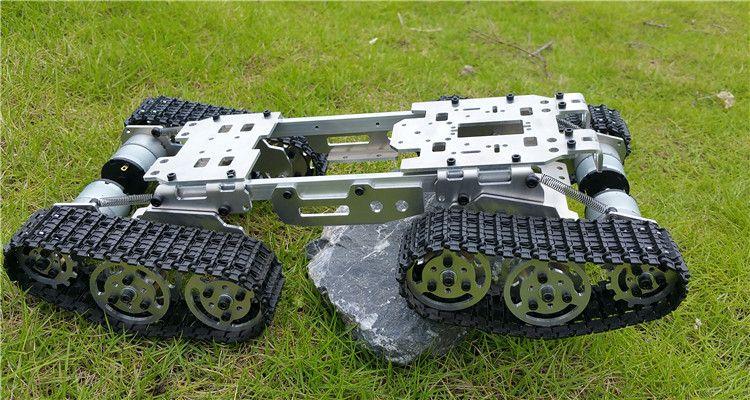 WZY569 Smart Р/У танки автомобиль грузовик робот платформы climbin металлический бак шасси DIY 350 об./мин. ЧПУ сплав тела + 4 пластиковые треки + 4 Moteurs