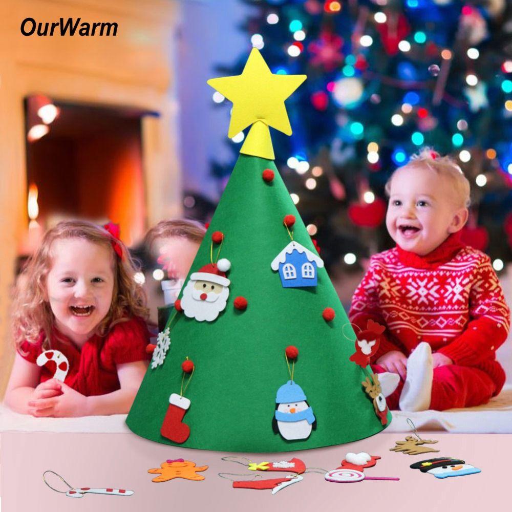 OurWarm 3D Felt Artificial Christmas Tree Mini Christmas Tree 2019 New Year Kids Toy Christmas Decoration for Home Felt Craft