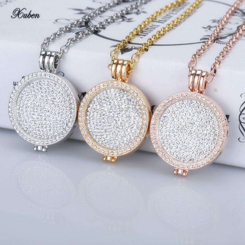 Nouveau 35mm porte-monnaie pendentif collier fit my 33mm pièces de monnaie blanc cristal de noël femme cadeau mode bijoux longue chaîne offre spéciale