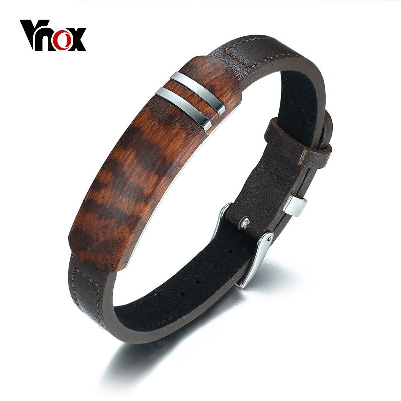 Vnox Antique Rosewood Wooden Men Bracelet Genuine Leather Bracelet Stainless Steel Jewelry Homme Adjustable Lengh Belt Buckle