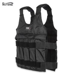 SUTENG 10kg 50kgLoading Weighted Vest For Boxing Training Equipment Adjustable Exercise Black Jacket Swat Sanda Sparring Protect