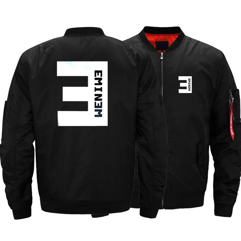 USA SIZE Men's Bomber Jackets Eminem Printed Warm Zipper FLIGHT JACKET Winter thicken Men Coats Fashion Brand Clothings New