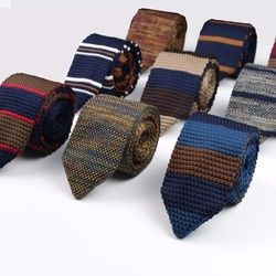 New Knitted Knit Leisure Triangle Striped Ties Normal Sharp Corner Neck Ties Men Classic Woven Designer Cravat