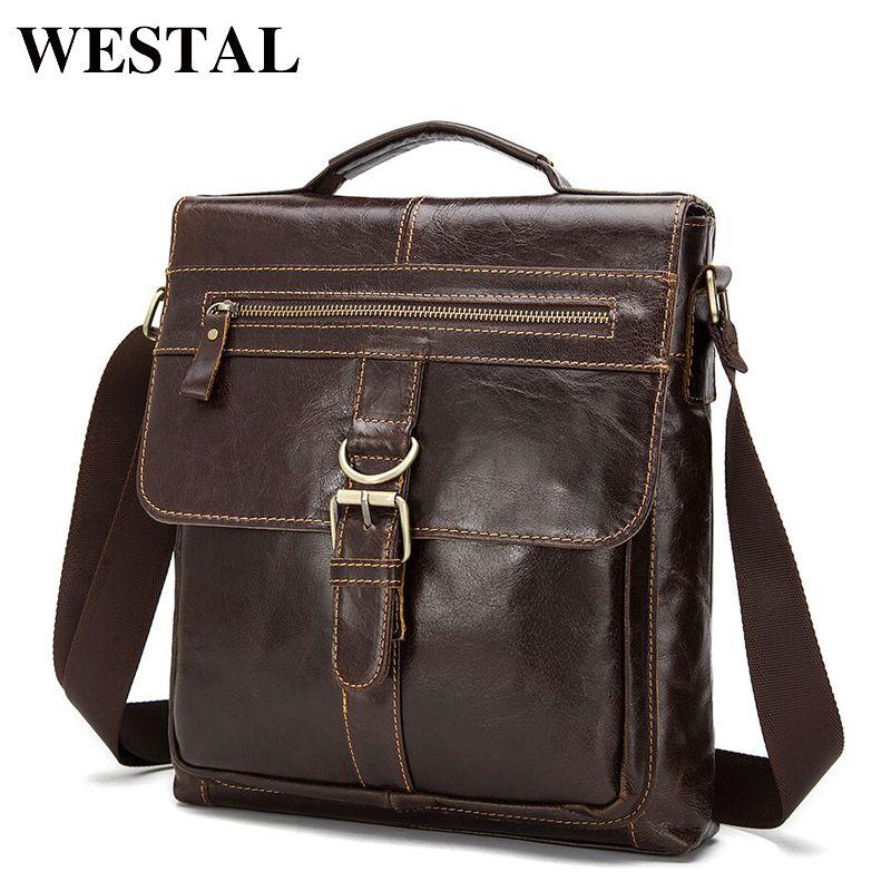 WESTAL Genuine Leather Bag Men leather Bags Messenger Bag Laptop Male Man Casual Tote Shoulder Crossbody bags Handbags Men 1292