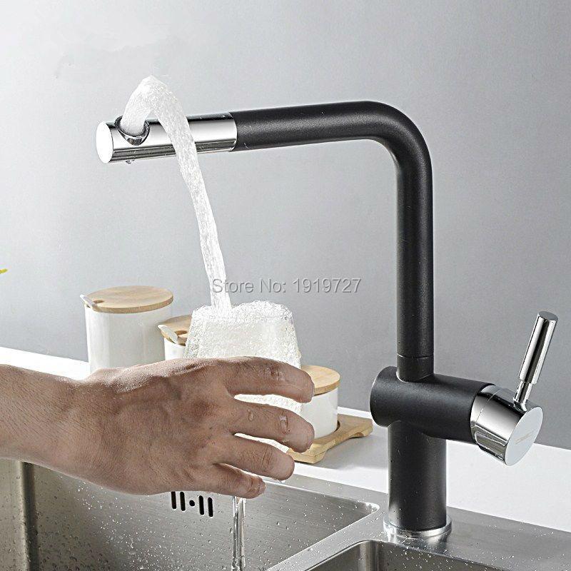 2016 Rushed New Paint Copper Filter Swivel Robinet Matt Black Granite Yellow High Arc Kitchen Faucet Sprayer Bar Sink Mixer Tap