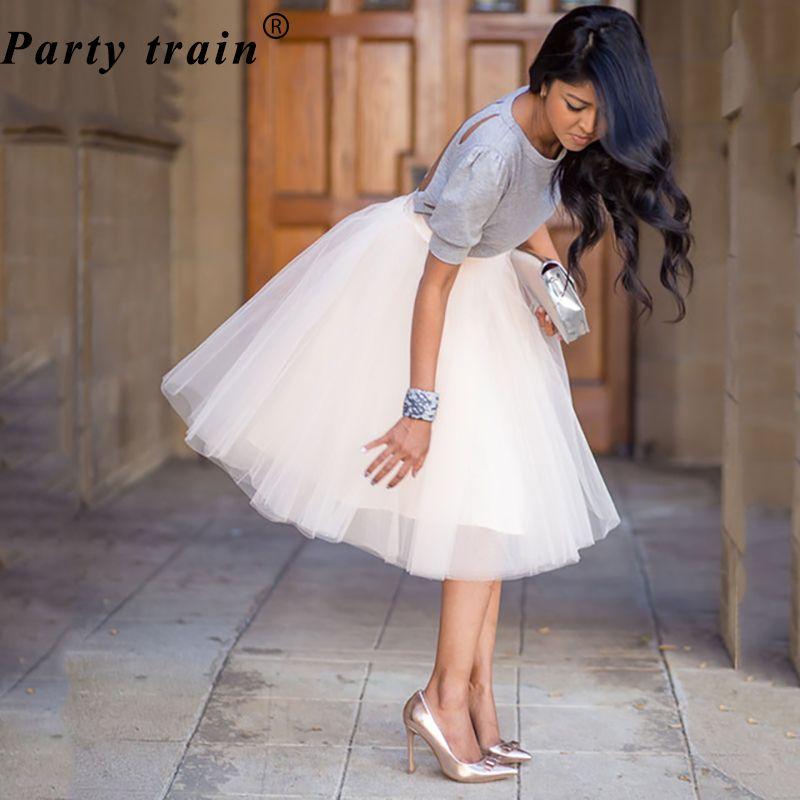 5 слоев 65 см принцессы миди Тюлевая юбка плиссе танец пачка Юбки для женщин Женская Лолита Нижняя юбка Jupe saia faldas джинсовые нарядные юбки